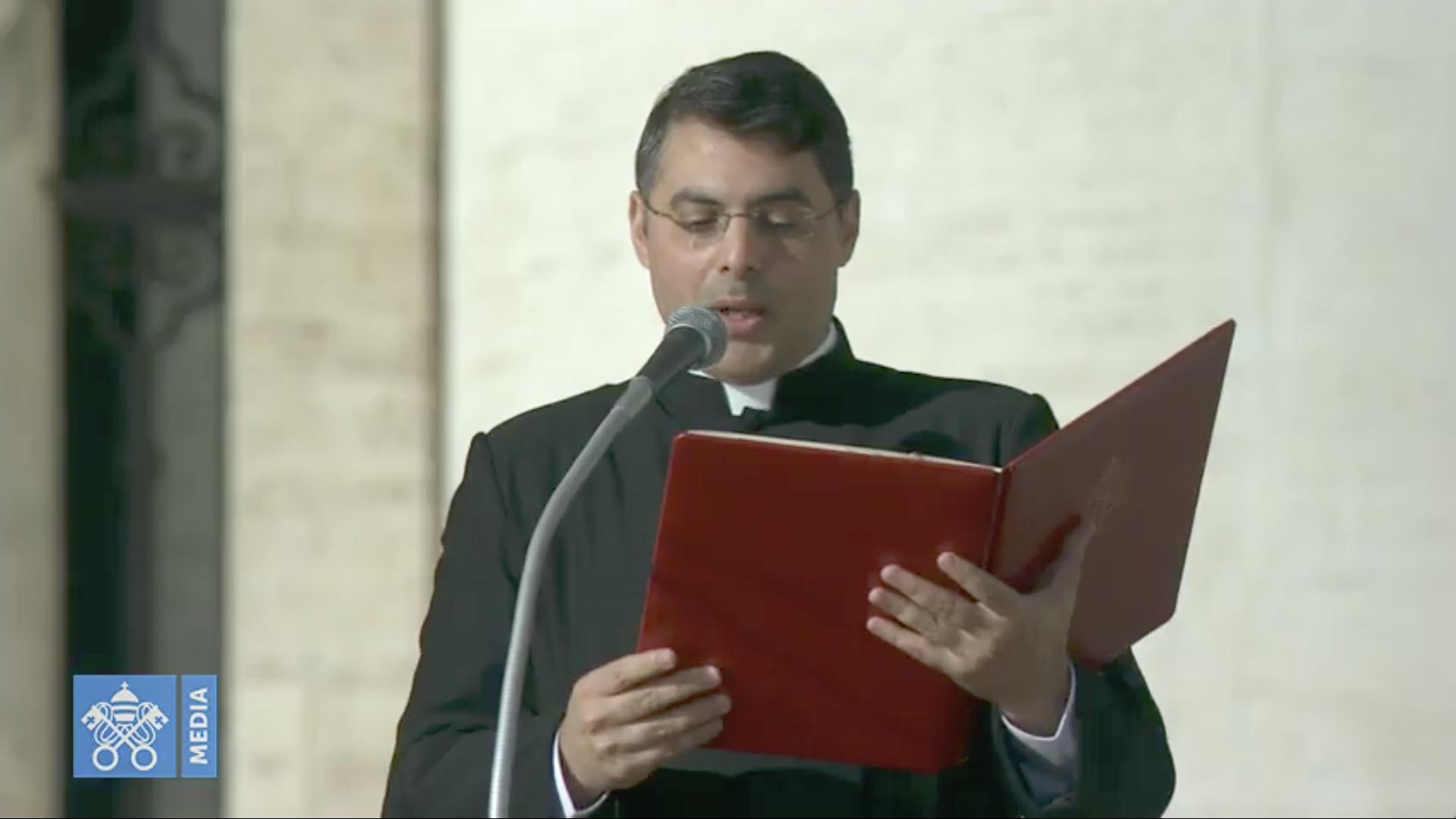 Résumé en arabe de la catéchèse du pape François, capture @ Vatican Media