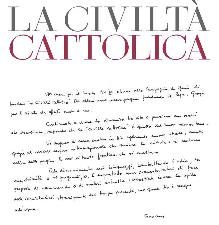 Chirographe du pape François pour la Civiltà Cattolica, capture @civ_catt
