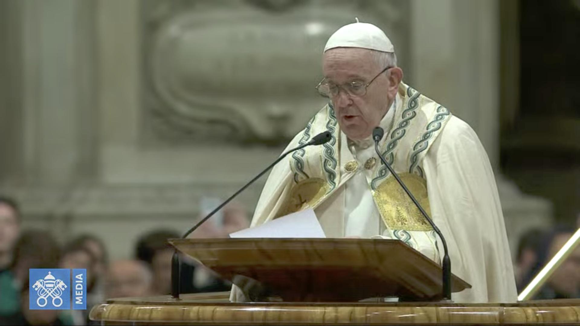 Vêpres et Te Deum, 31 déc. 2019, capture @ Vatican Media