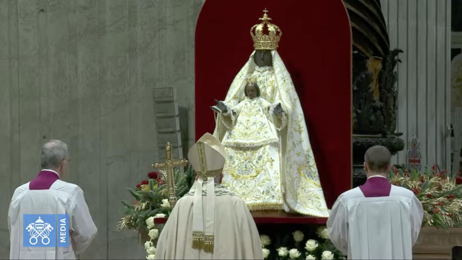 La Vierge à l'Enfant de Foggia, Vêpres et Te Deum, 31 déc. 2019, capture @ Vatican Media