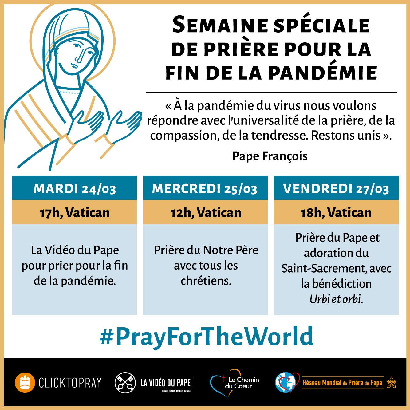 Semaine de prière pour la fin de la pandémie @ La Vidéo du Pape