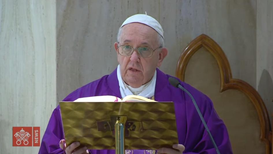 Sainte-Marthe, messe du 18 mars 2020, capture Vatican News