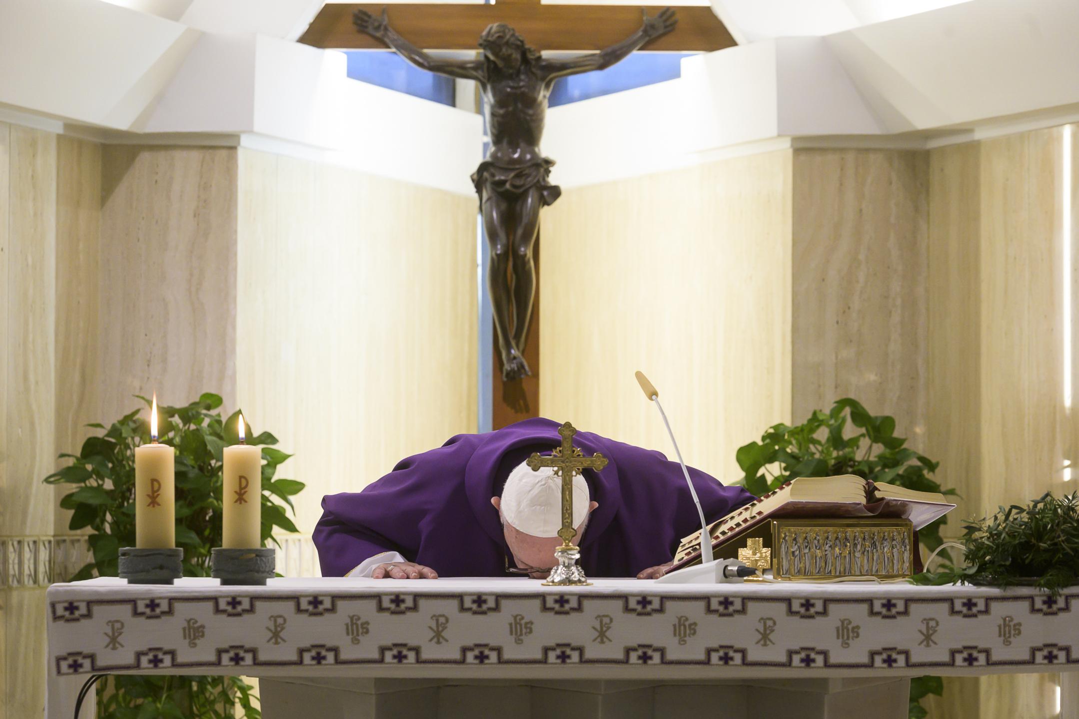 Messe à Sainte-Marthe, 8 avril 2020 © Vatican Media