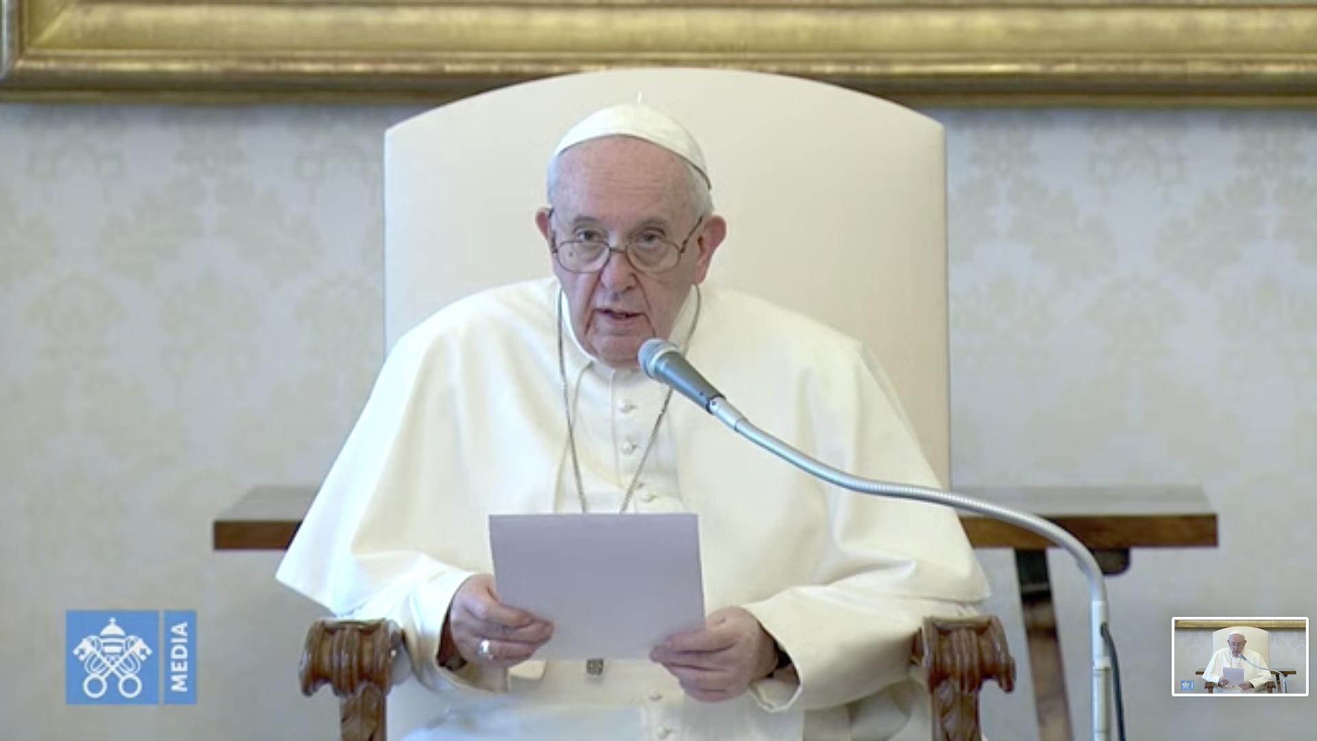 Audience du 13 mai 2020, capture @Vatican Media