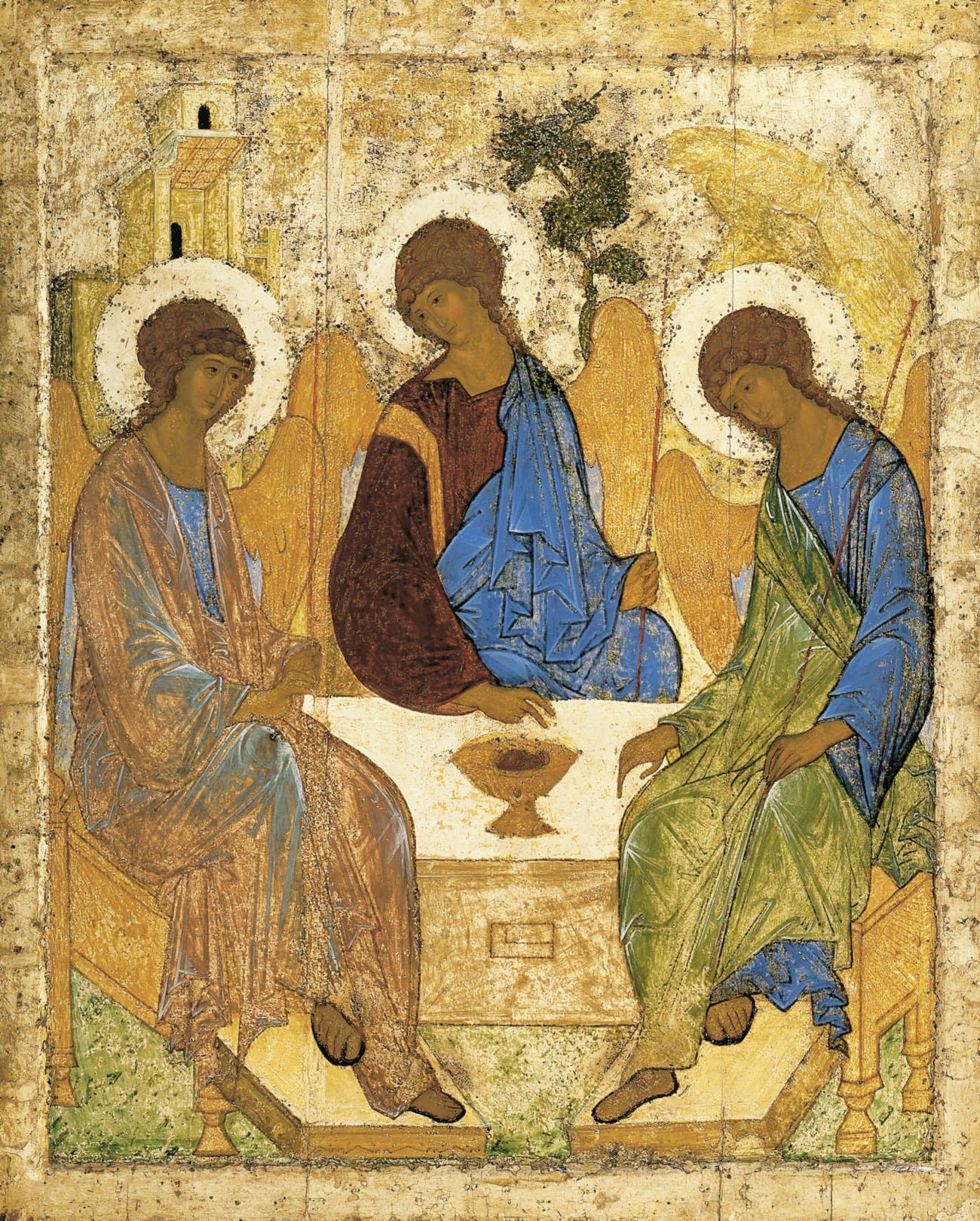Icône de l'Hospitalité d'Abraham, dite de la Sainte-Trinité, copie de l'îcône d'André Roublev @ wikimedia commons