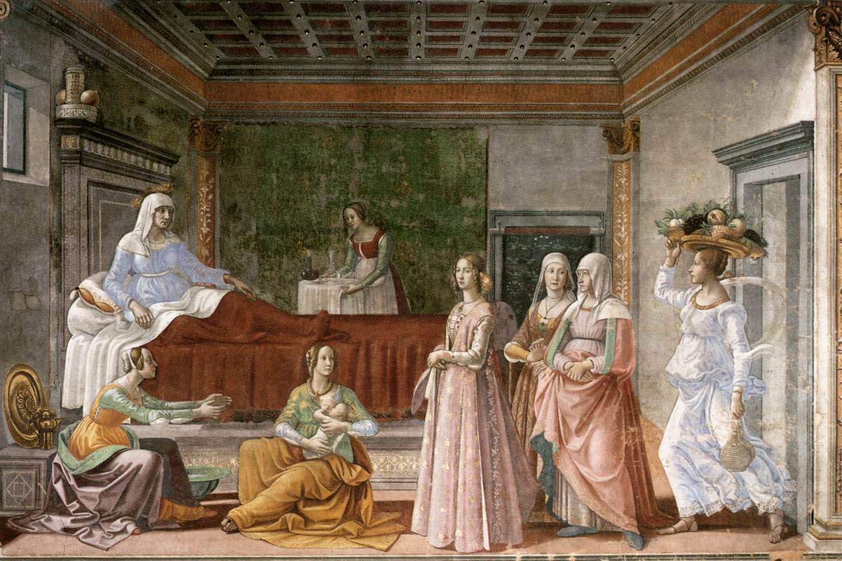 Nativité de S. Jean-Baptiste (1485) Santa Maria Novella, Florence (Italie) par Domenico Ghirlandaio @wikimedia commons / DP