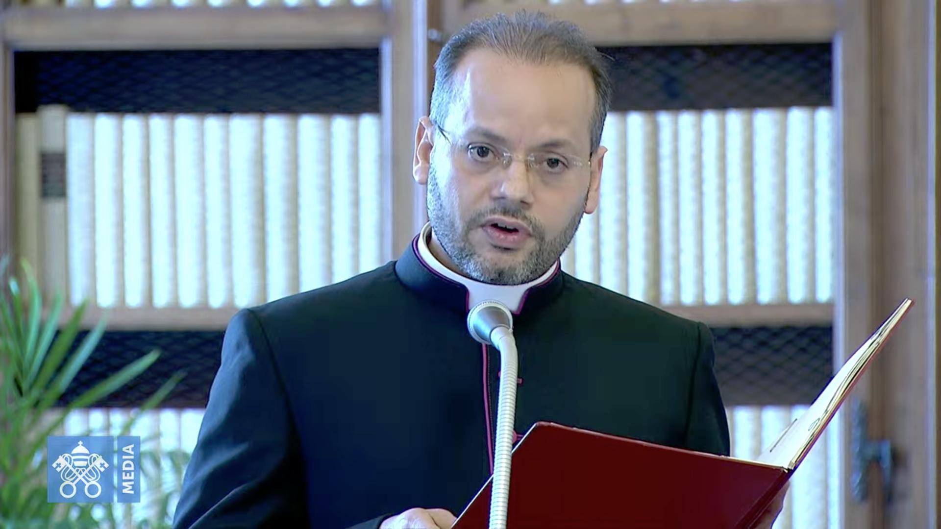 Mgr Yoannis Lahzi Gaid, audience du 10 juin 2020, capture @ Vatican Media