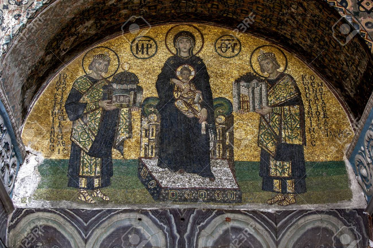 Sainte-Sophie, mosaïque de la Vierge Marie Theotokos © wikimedia commons / Phi-Gastrein~commonswiki