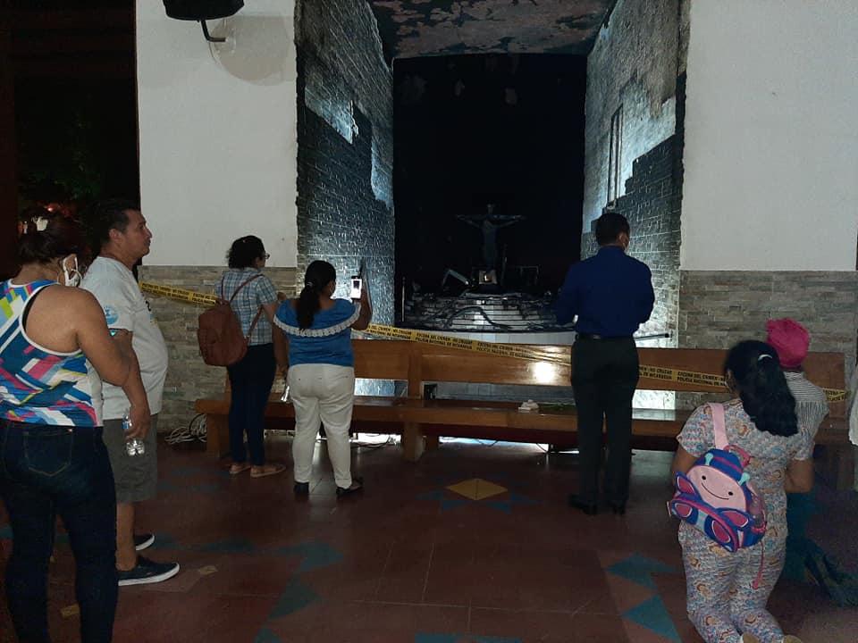 Cathédrale de Managua après l'attentat © Facebook