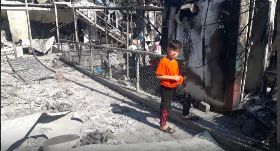 Camp de Moria (Lesbos, Grèce), 9 sept. 2020, capture @Sant'Egidio
