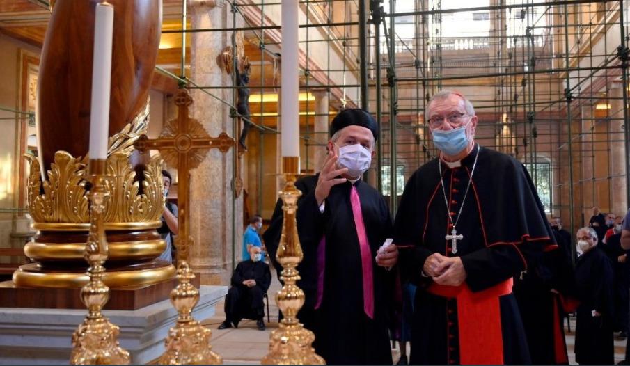 Le cardinal Parolin à la cathédrale maronite de Saint-Georges, Beyrouth © Vatican News