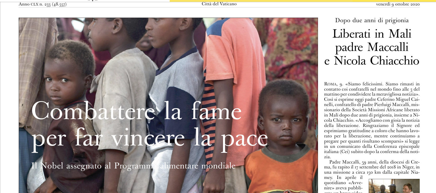 Le Nobel de la Paix au PAM, capture @ L'Osservatore Romano