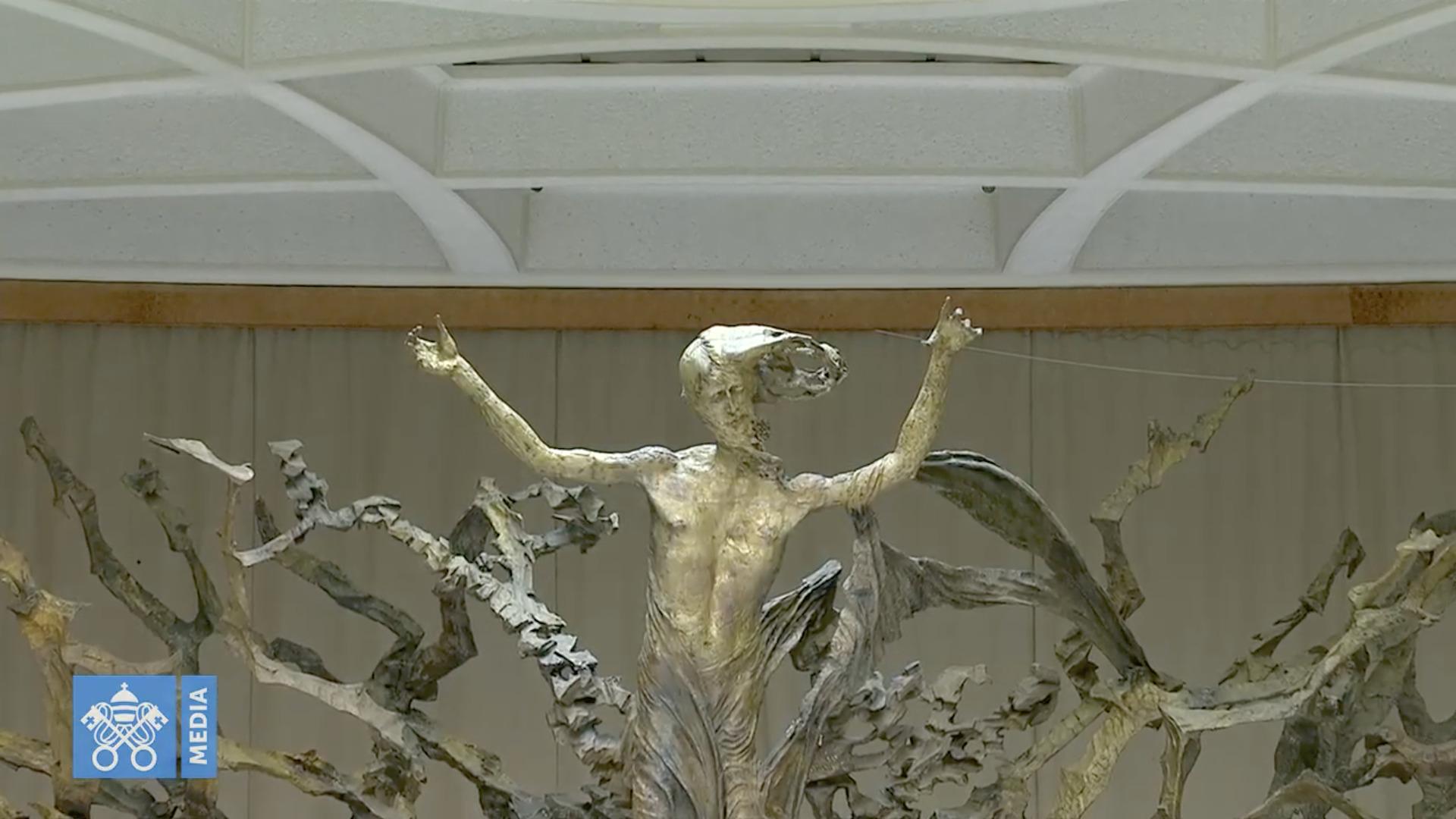 Christ ressuscité de la Salle Paul VI, Audience du 28 oct. 2020, capture @ Vatican Media