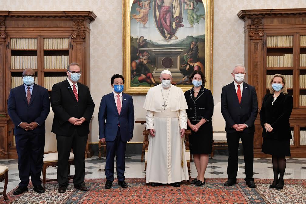 M. Qu Dongyu (FAO) et sa suite © Vatican Media