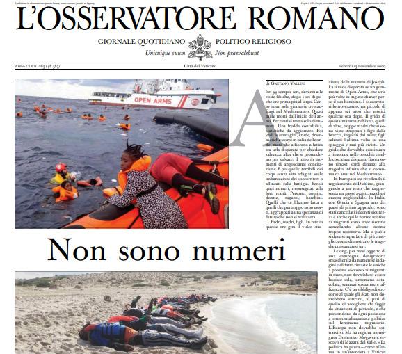 L'Osservatore Romano, appel pour les migrants