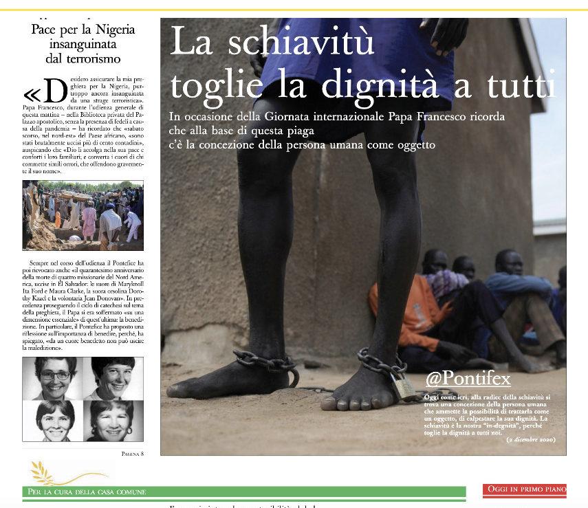 Journée contre l'esclavage à la Une de L'Osservatore Romano du 3 déc. 2020, capture