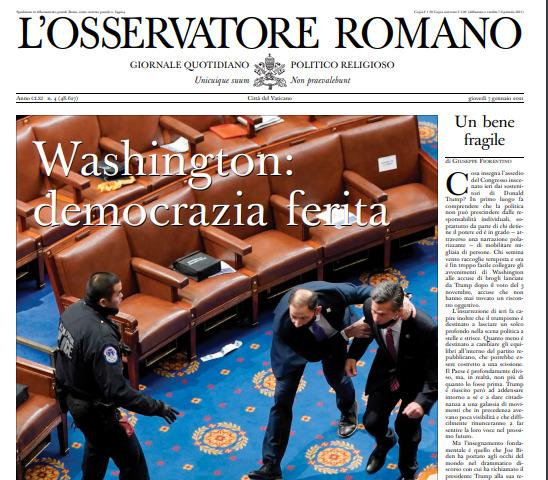 La Une de L'Osservatore Romano du 7 janvier 2021