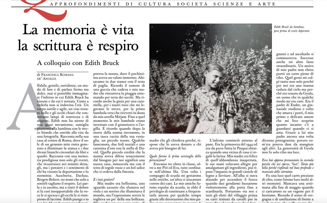 Edith Bruck enfant, capture @ L'Osservatore Romano