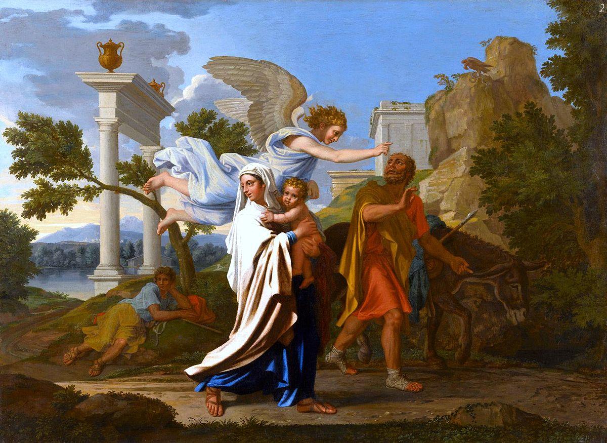 Nicolas Poussin, La Fuite en Egypte, musée des Beaux-Arts de Lyon@ wikimedia commons