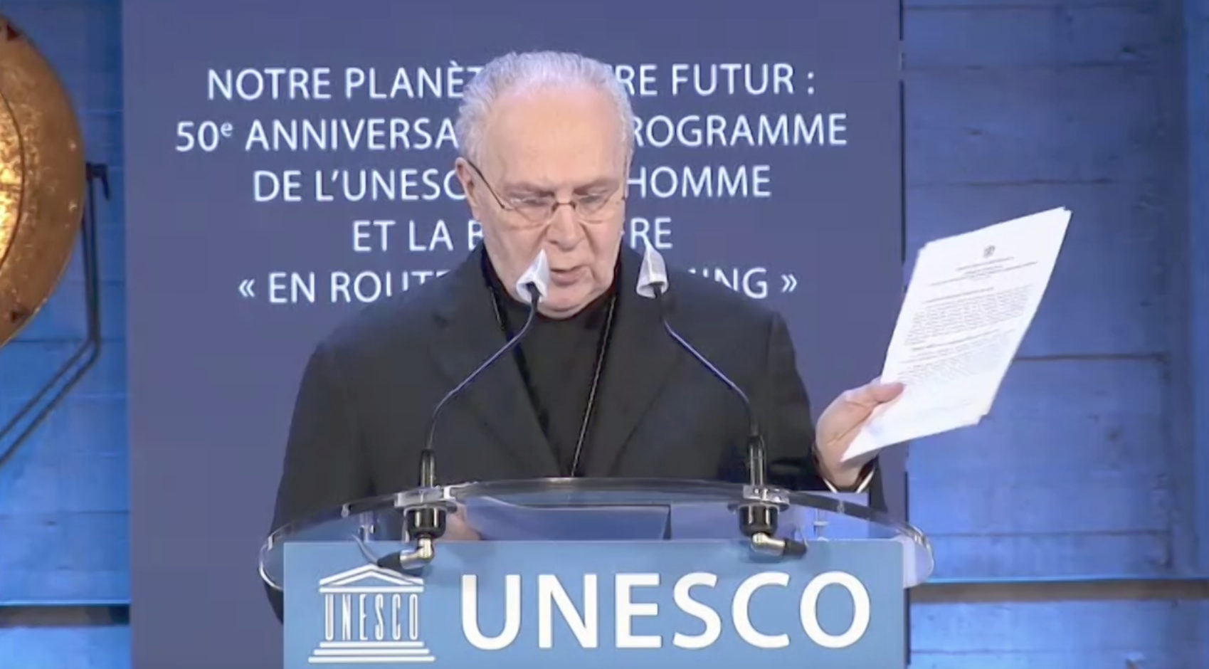Mgr Francesco Follo, 24 mars 2021, capture @ UNESCO