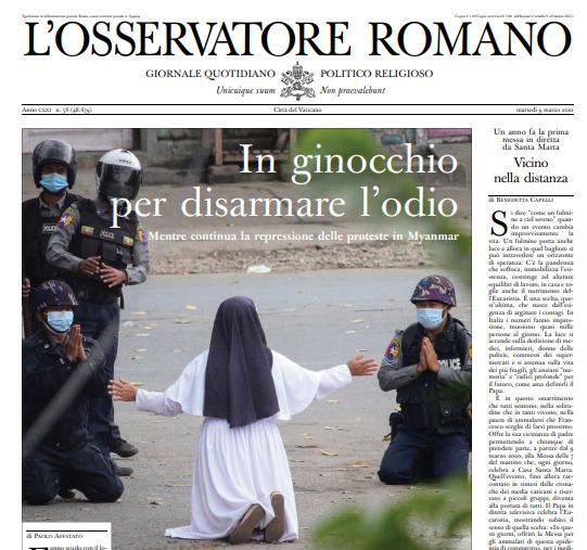 Une de L'Osservatore Romano du 9 mars 2021