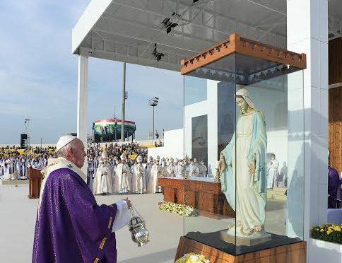 La statue de la Vierge Marie de Karamless, mutilée par daesh et restaurée au Kurdistan © Vatican Media