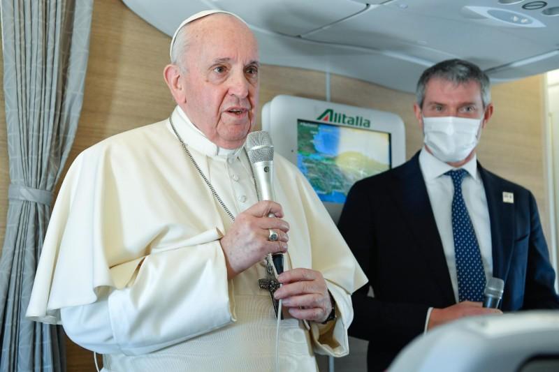 Vol Bagdad-Rome (A330, Alitalia), 8 mars 2021, avec Matteo Bruni © Vatican Media