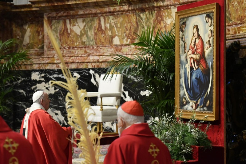 Marie, Rameaux, 28 mars 2021 © Vatican Media