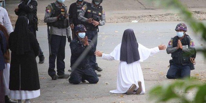 Soeur Ann Nu Thawng (Birmanie), 8 mars 2021, capture @ Reuters