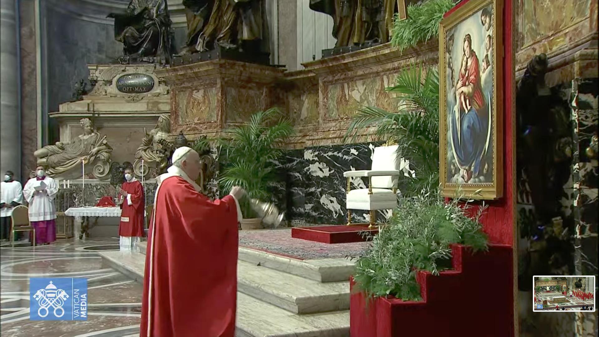 Encensement, Rameaux 28 mars 2021, capture @Vatican Media