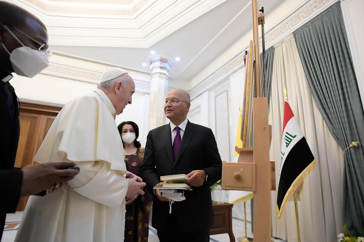 Président Saleh, palais présidentiel de Bagdad, Irak, 5 mars 2021 © Vatican Media