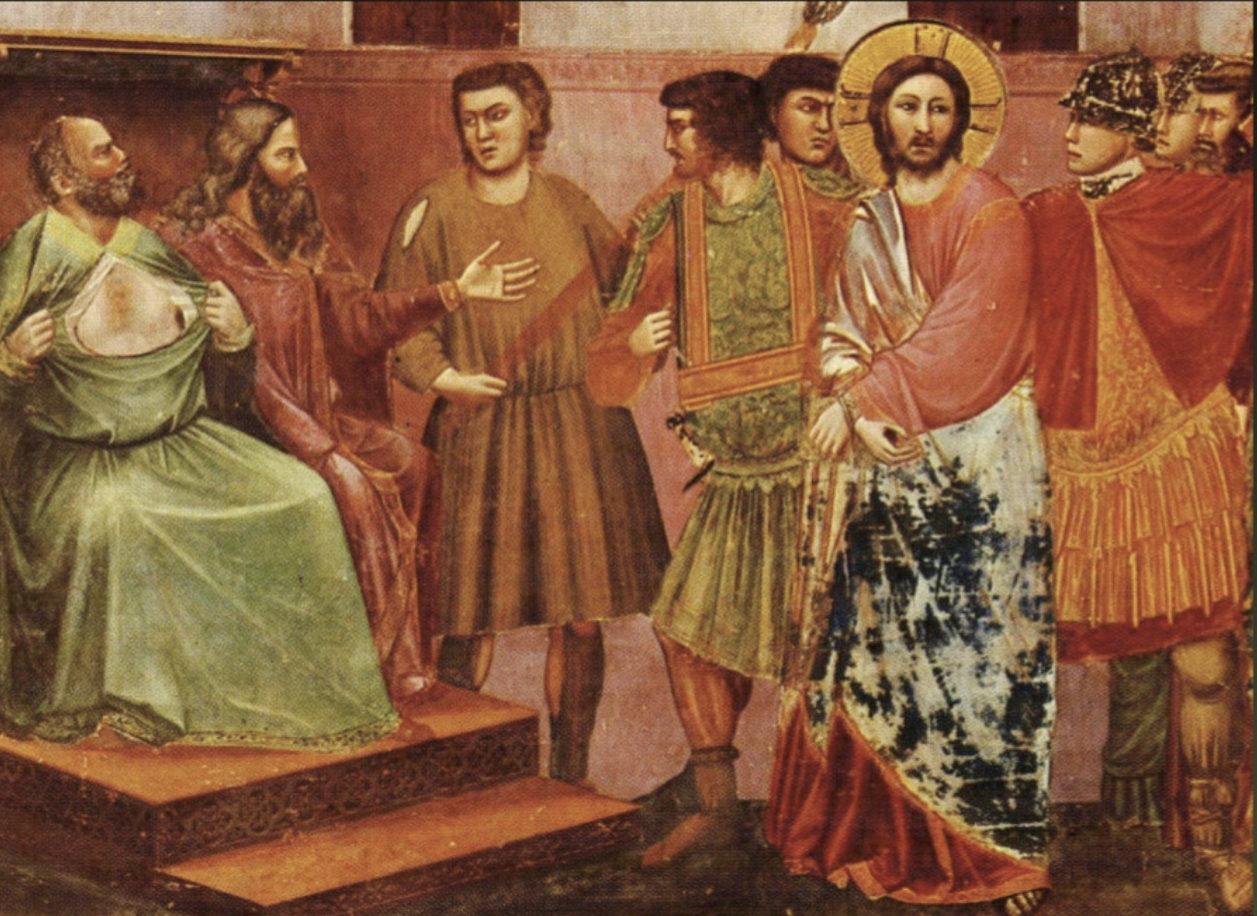 Jésus et Caïphe, Giotto, Scrovegni, Padoue (Italie), capture