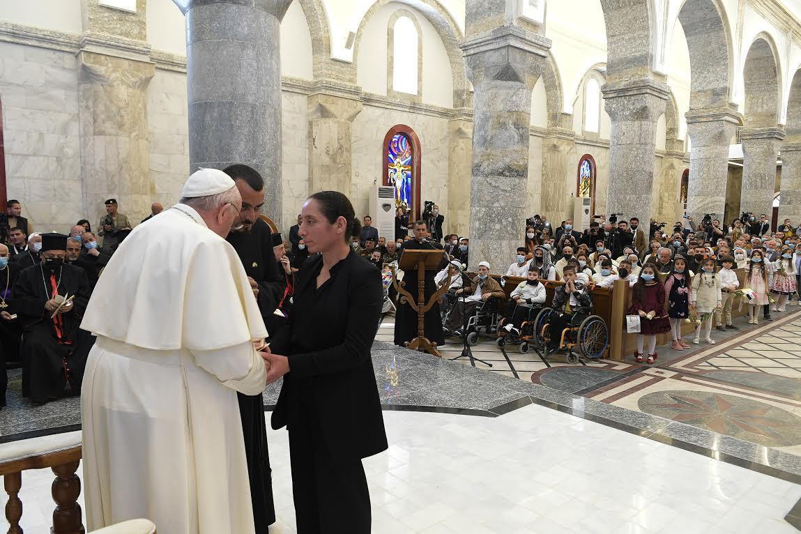 Mme Doha Sabah Abdallah, Qaraqosh, 7 mars 2021 © Vatican Media