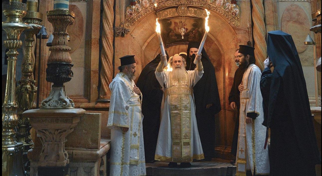 """Feu sacré"""", basilique de la Résurrection, capture @ Vatican News"""