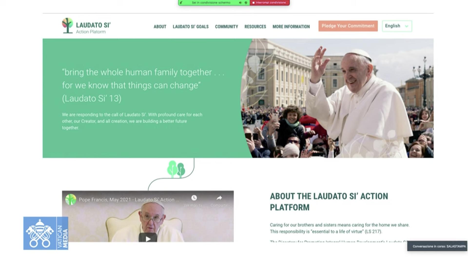 Plateforme Laudato si', capture Vatican Media