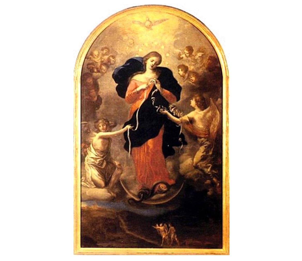 """""""Marie qui défait les noeuds"""", copie du tableau original de Johann Georg Melchior Schmidtner, église S. Peter, Augsbourg, Bavière (Allemagne)"""