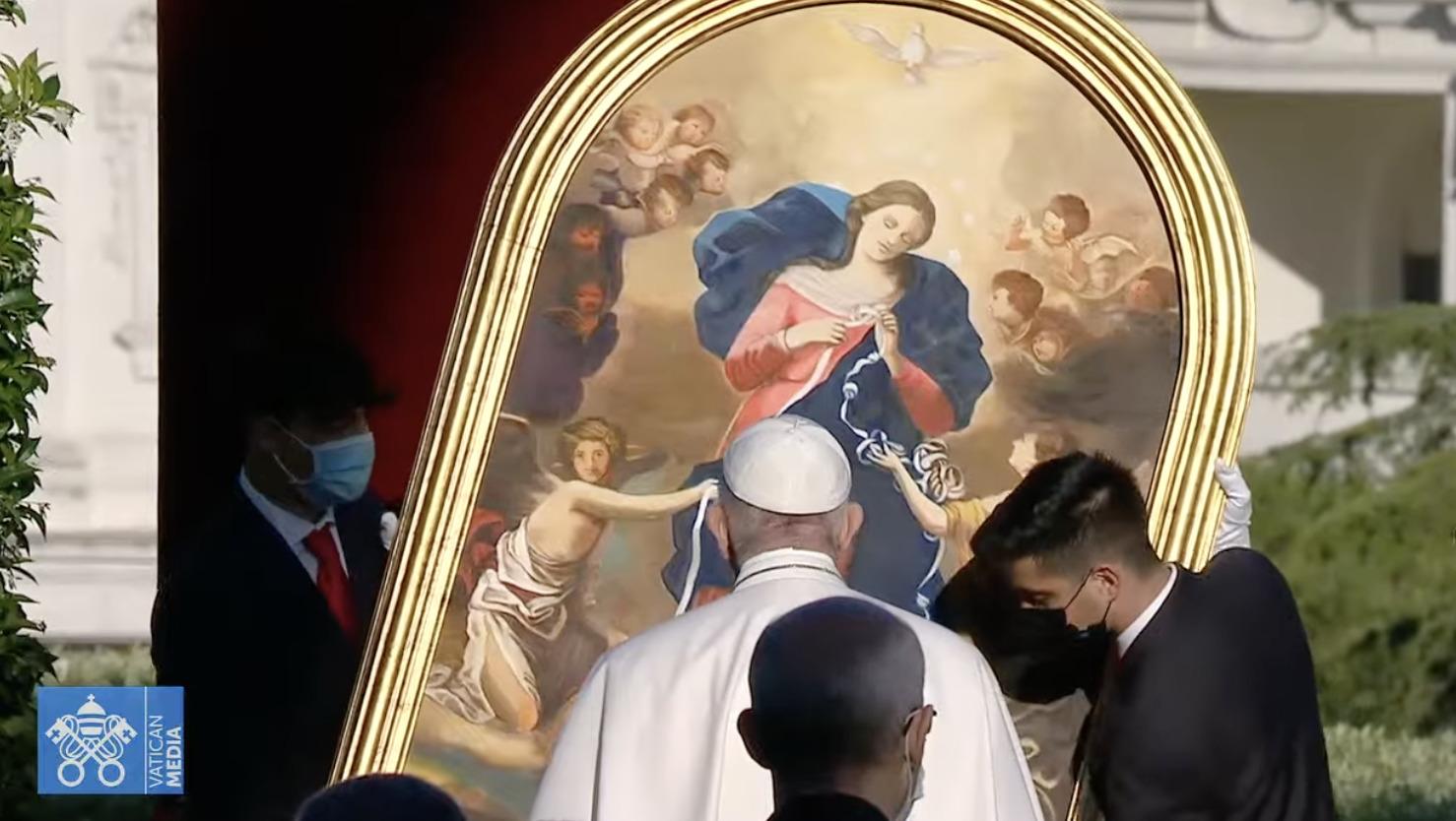 Conclusion du Marathon de prière dans les Jardins du Vatican, 31 mai 2021, capture Vatican Media