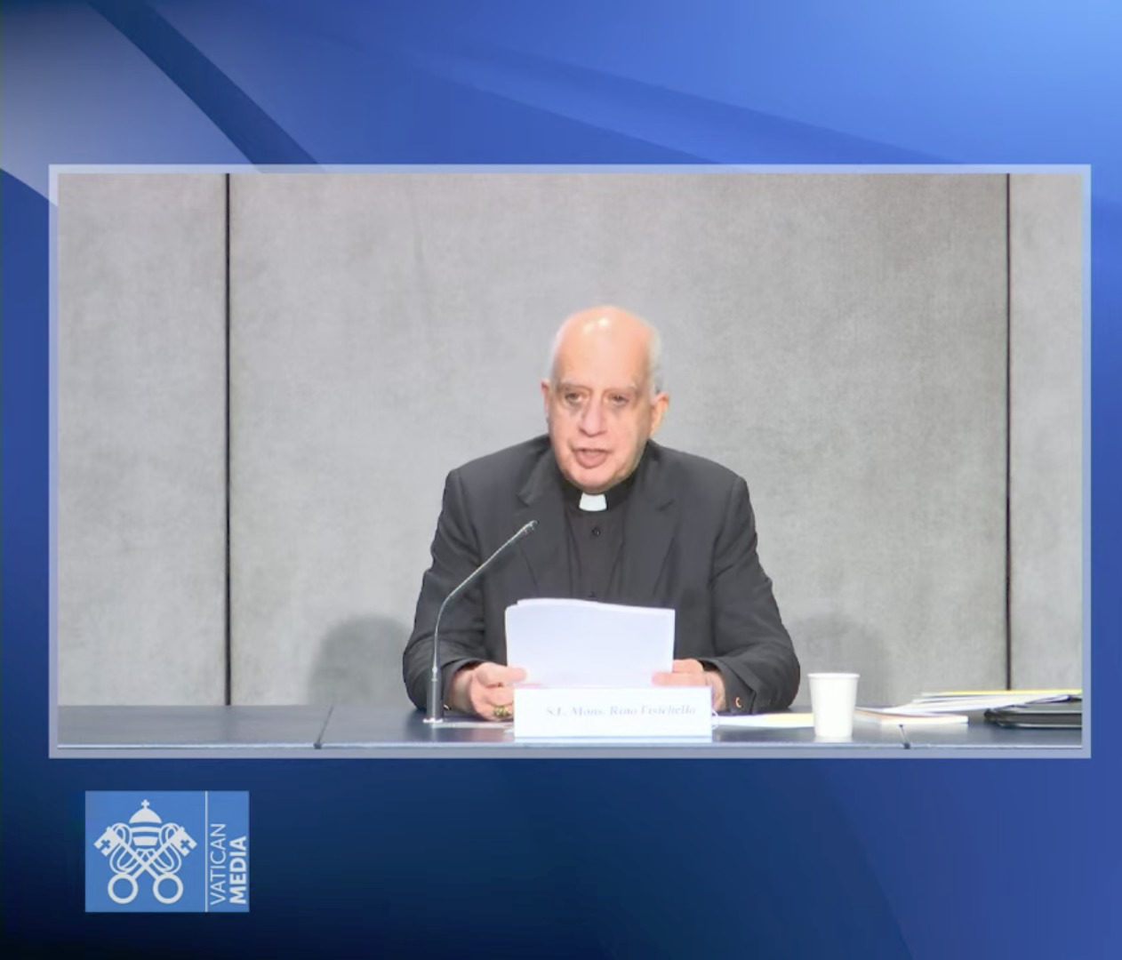 Mgr Rino Fisichella, 11 mai 2021, capture @ Vatican Media
