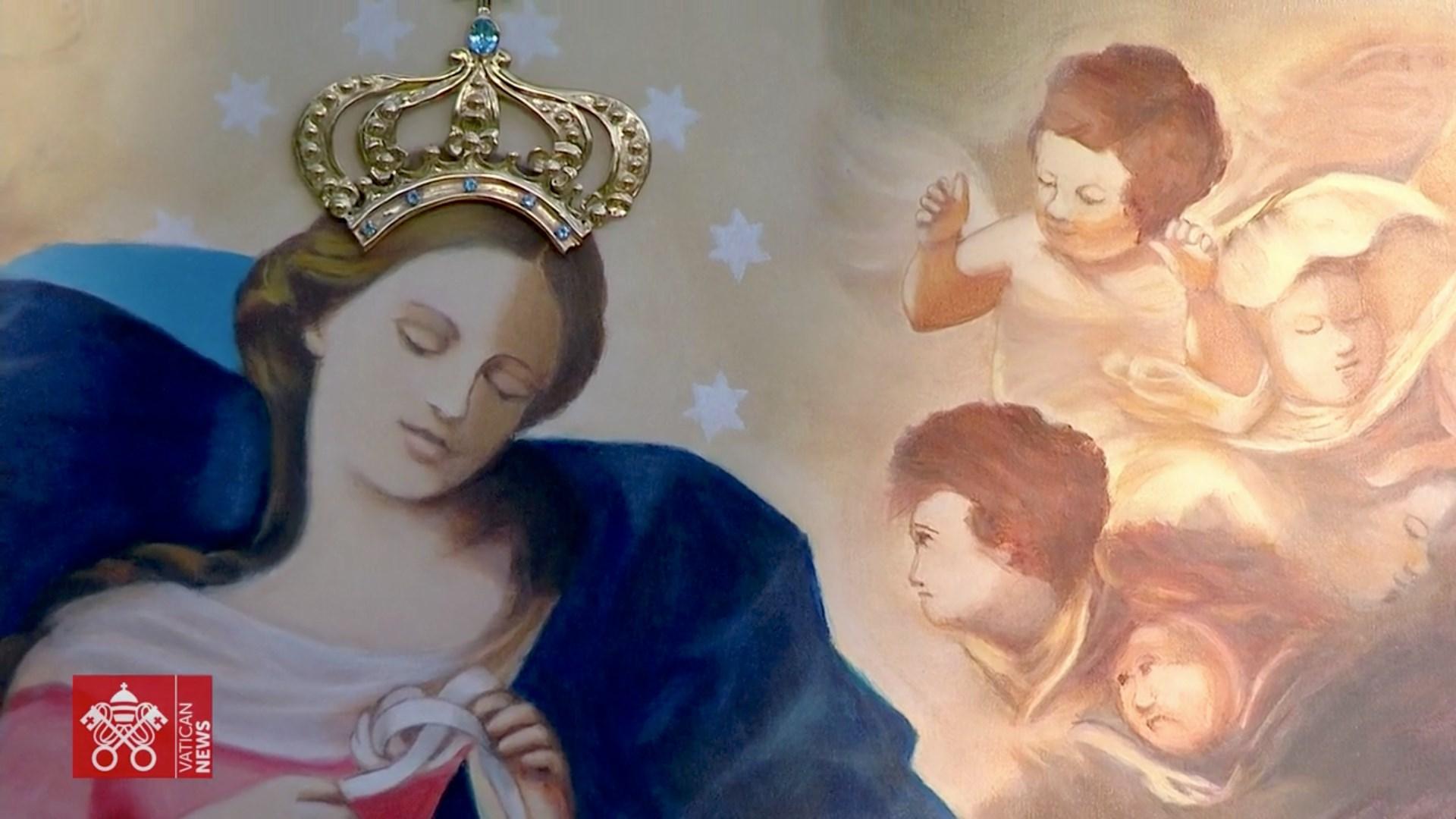 La Vierge qui défait les noeuds d'Augsbourg, couronnée par le pape François, 31 mai 2021, capture Vatican Media