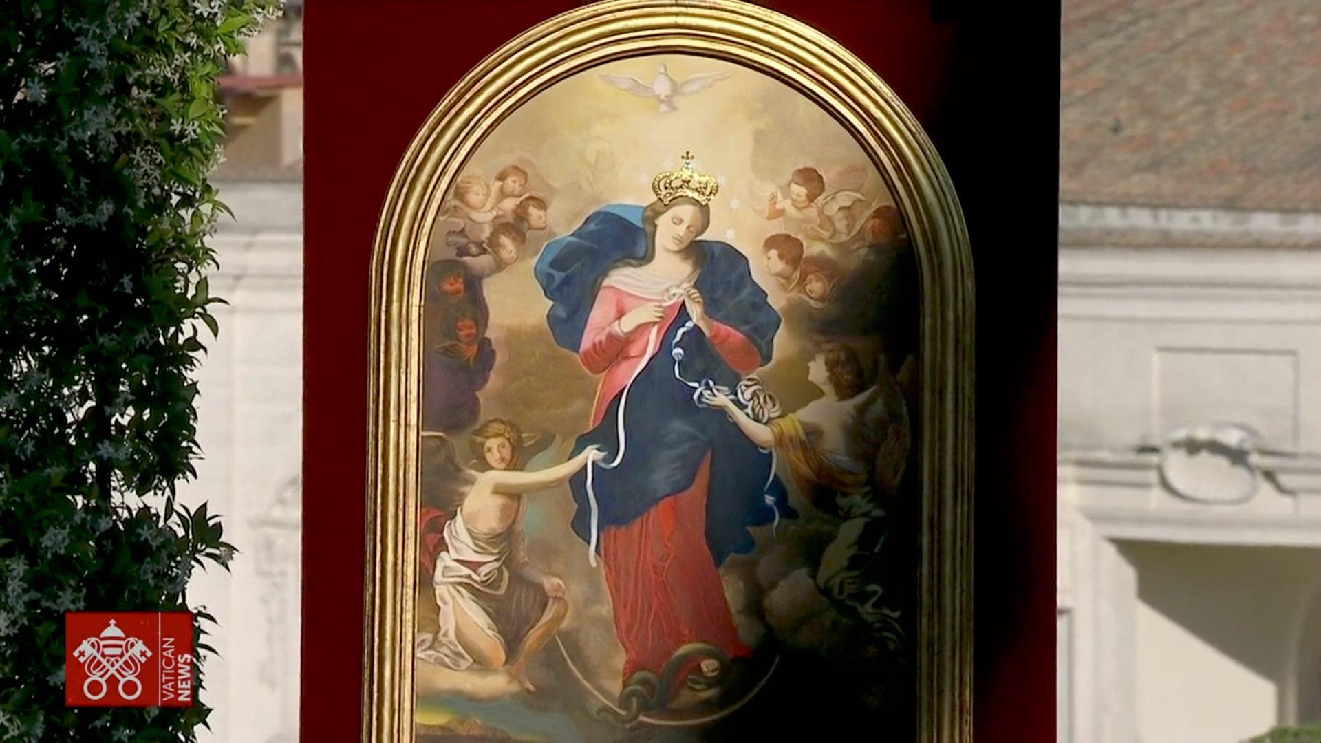 La Vierge qui défait les noeuds d'Augsbourg, couronnée par le pape François, 31 mai 2021, capture Vatican News