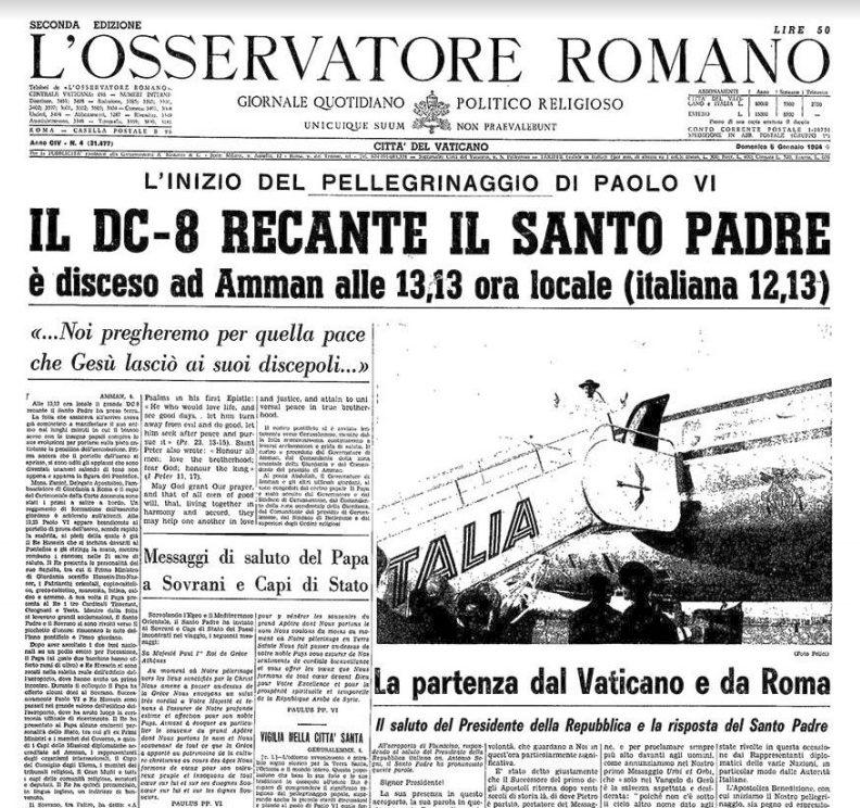Voyage de Paul VI en Terre Sainte, capture Zenit / L'Osservatore Romano