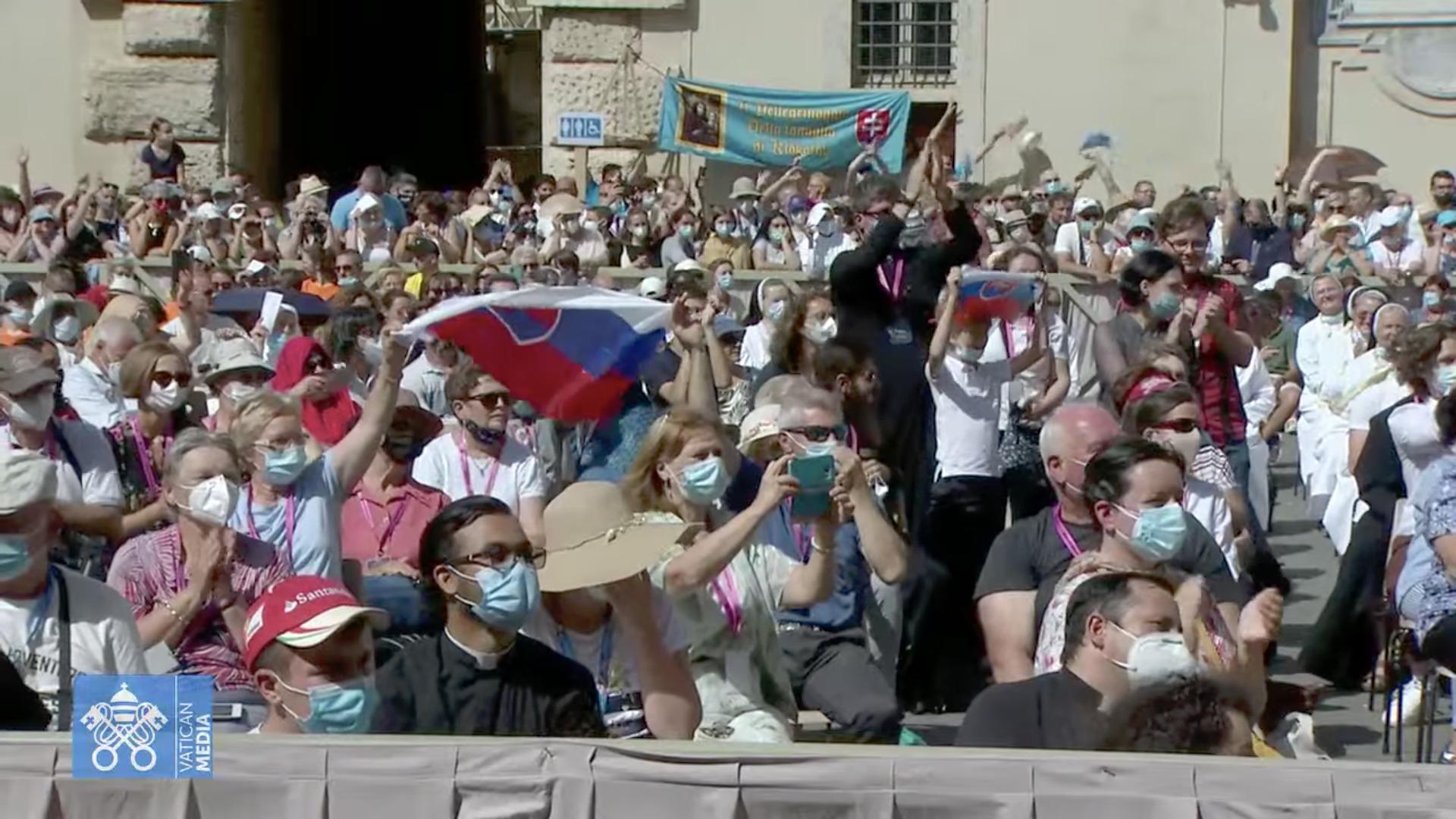 Pèlerinage slovaque, capture sur Vatican Media