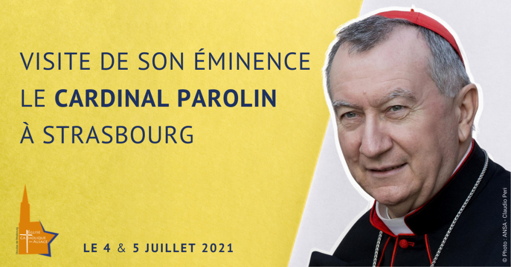 Poster de la visite du card. Parolin © Diocèse de Strasbourg