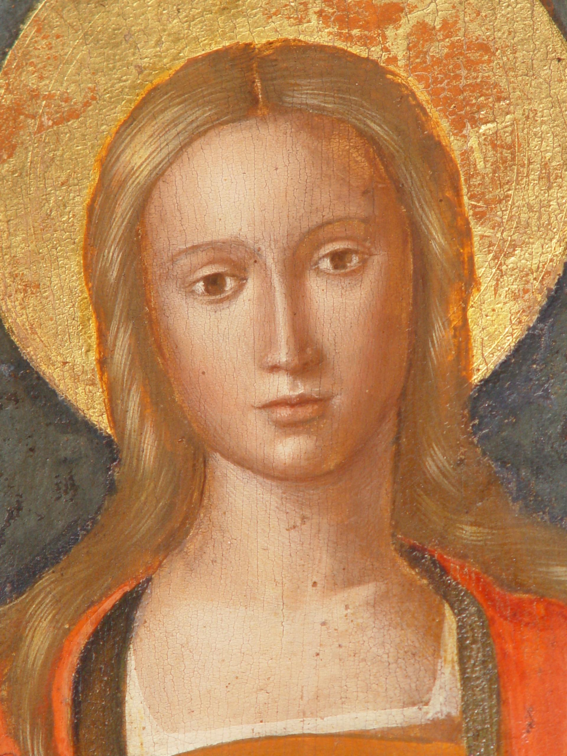 Sainte Marie Madeleine, détail de la Vierge du Rosaire, église de Biot (Alpes Maritimes, France) © wikimedia commons / guerinf