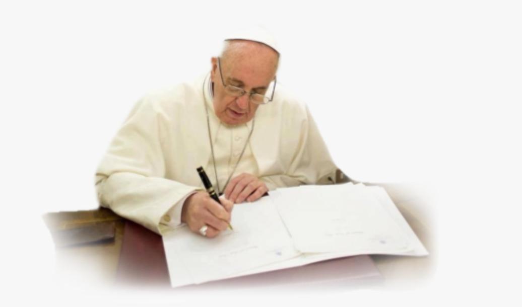 Le pape François signant un document © Vatican Media