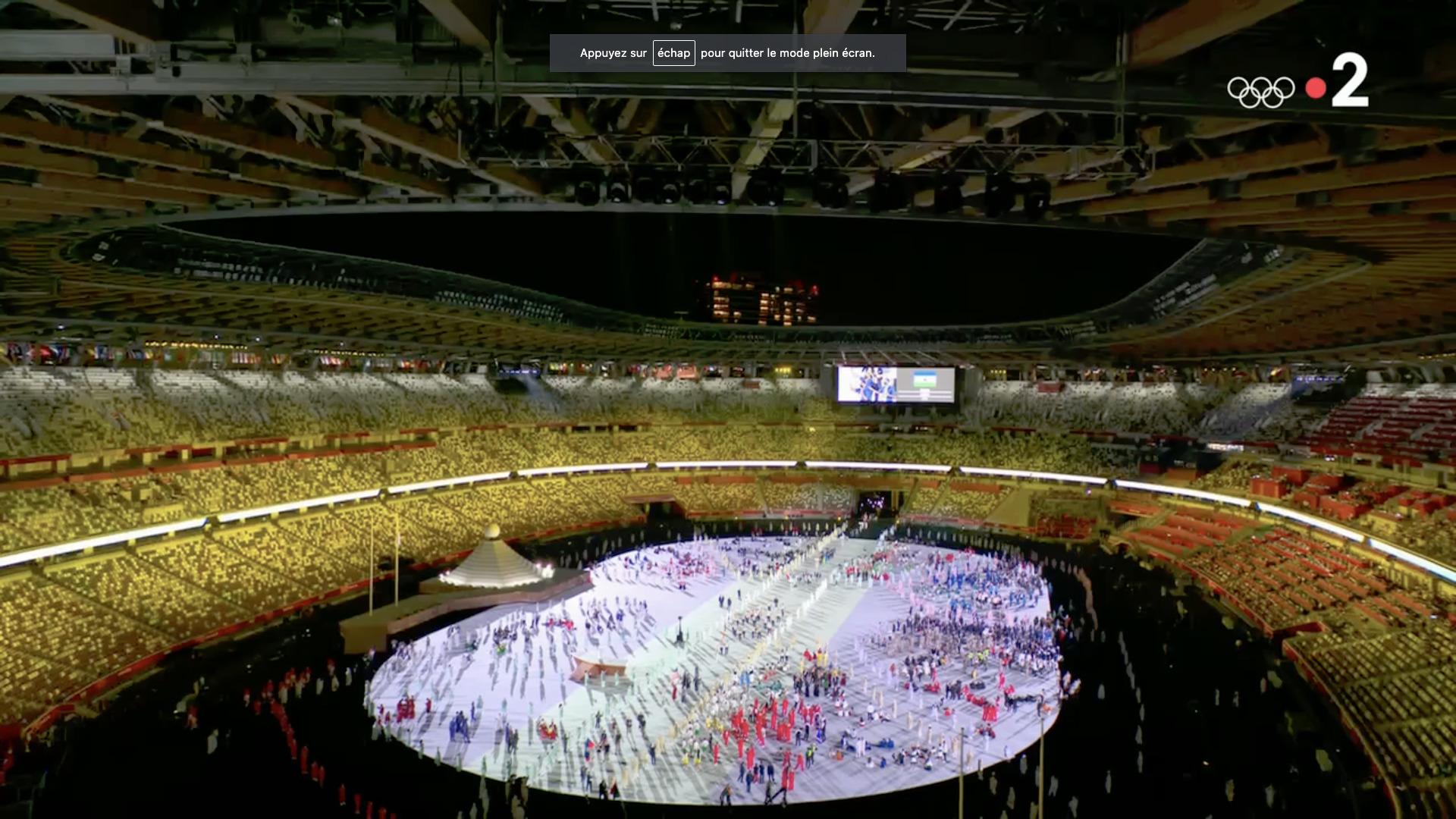 Ouverture des Jeux olympiques de Tokyo, 23 juillet 2021, capture Zenit / France 2