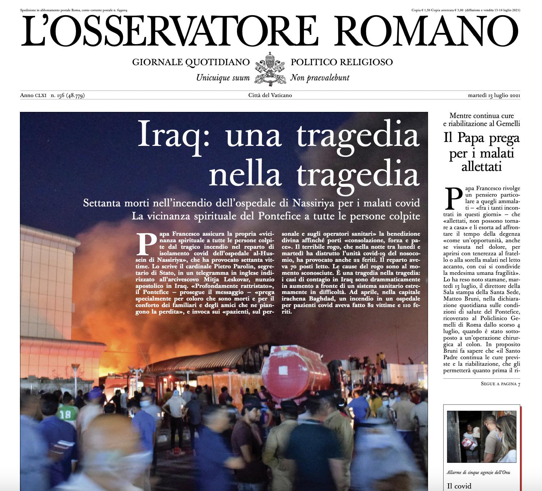 La Une de L'Osservatore Romano sur l'incendie en Irak