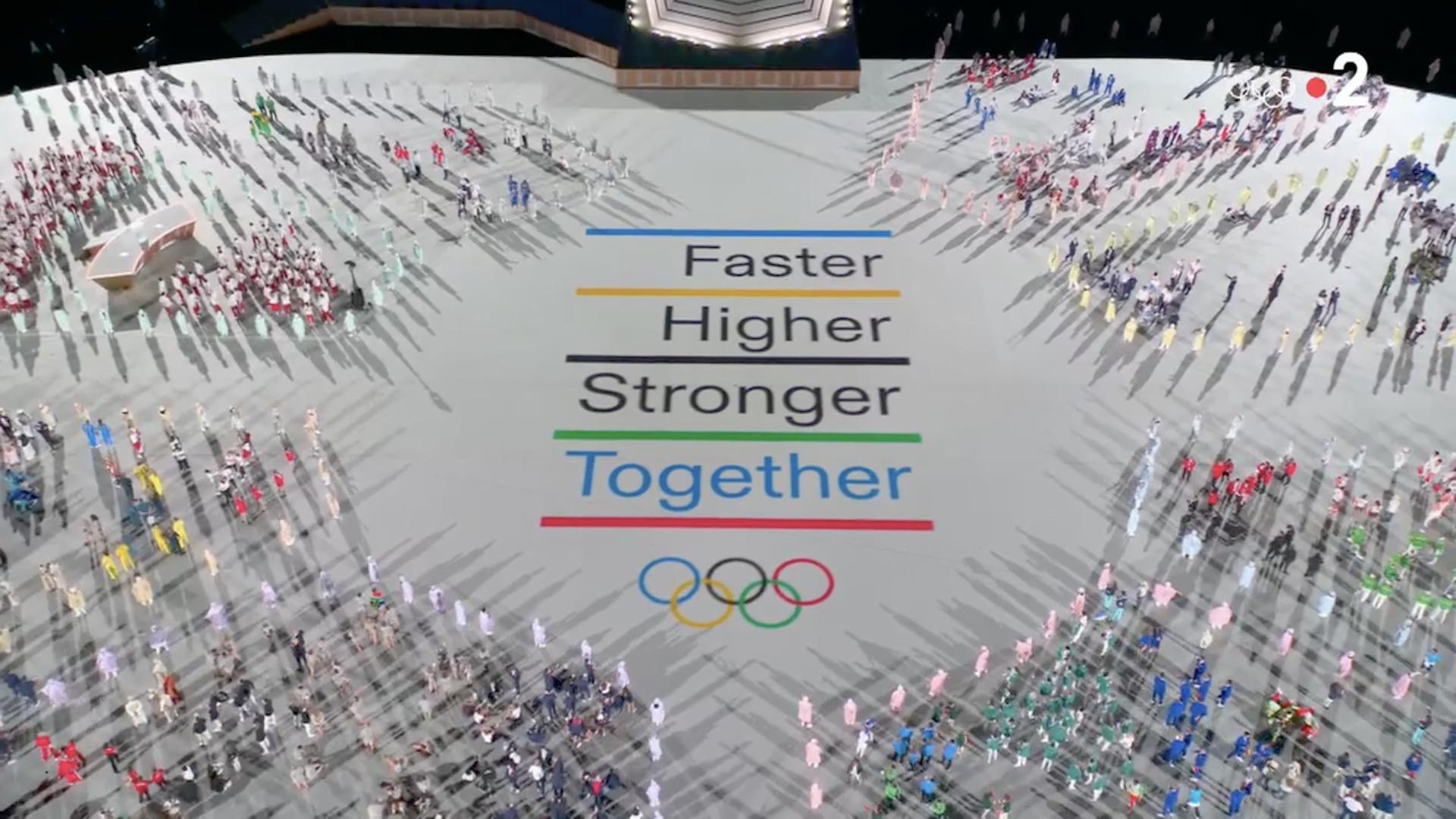 Nouvelle devise des JO, Ouverture des Jeux olympiques de Tokyo, 23 juillet 2021, capture Zenit / France 2