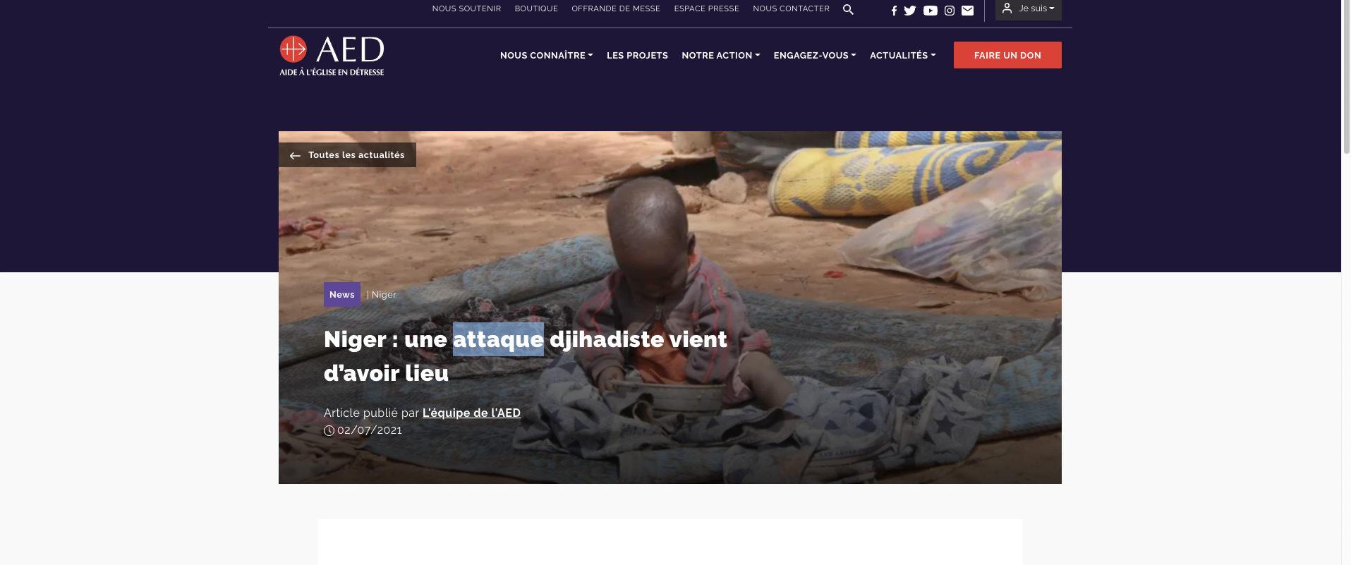 Attaque au Niger, capture Zenit / AED
