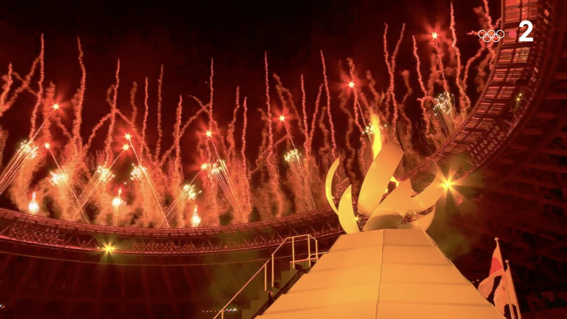 Flamme olympique, Tokyo, 23 juillet 2021, capture Zenit / France 2